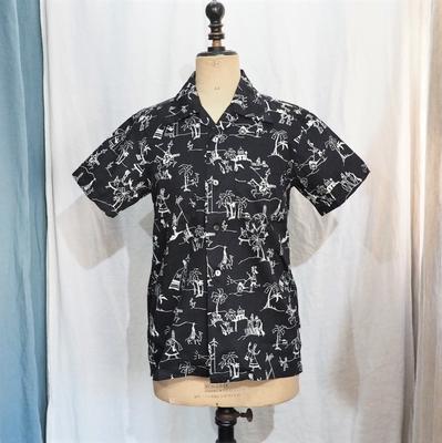 アジャスタブルコスチューム オリジナル プリント ショートスリーブ オープンカラー シャツ ブラック