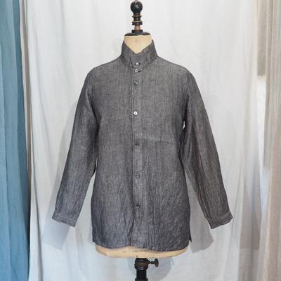 ジャンゴ アトゥール DAハイネック リネンツイル シャツジャケット ブラックツィル