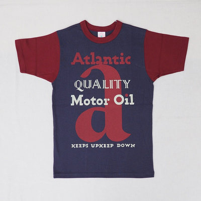 "ブートレガーズ Tシャツ ""ATLANTIC MOTOR OIL"" FADE NAVY×LOBSTER RED Youth M"