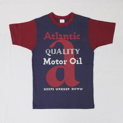 """ブートレガーズ Tシャツ """"ATLANTIC MOTOR OIL"""" FADE NAVY×LOBSTER RED Youth M"""