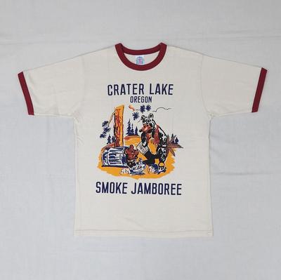"""ブートレガーズ Tシャツ """"CRATER LAKE SMOKE JAMBOREE"""" STRAW CREAM×LOBSTER RED"""