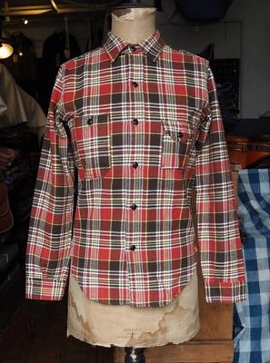 ブートレガーズ ネルシャツ ブリック レイヤー 30's スタイル ワークシャツ RED×BROWN×YELLOW 14サイズ