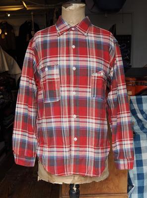 ブートレガーズ ネルシャツ N.P.R. 40's スタイル ワークシャツ  RED×CHARCOAL×SAX 17サイズ
