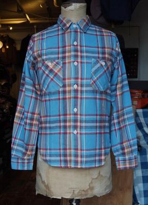 ブートレガーズ ネルシャツ C.P.R. 50's スタイル ワークシャツ  SAX×RED×ORANGE 17サイズ