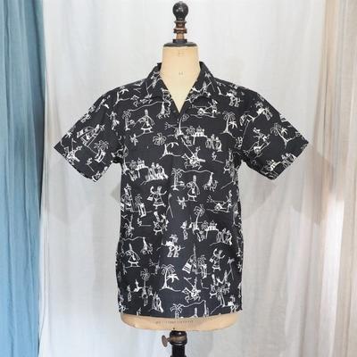 アジャスタブルコスチューム オリジナル プリント ショートスリーブ プルオーバー シャツ ブラック