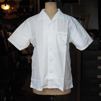 アジャスタブル コスチューム イタリアンカラー ショートスリーブ シャツ ホワイト 40サイズ