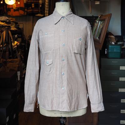 ウォークオン チンストラップ ワークシャツ ブラウンシャンブレー 36サイズ