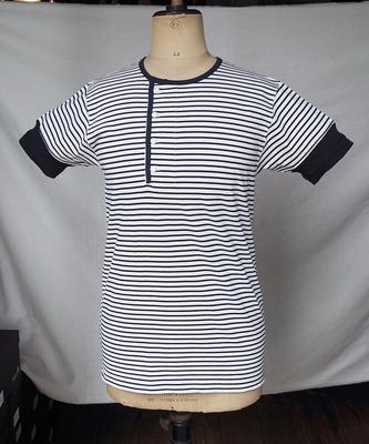 ダッパーズ クラシカル サイド ネック ヘンリー ボーダー リブTシャツ LOT1008  NAVY×OFFWHITE