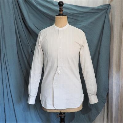 アジャスタブルコスチューム×フランボヤント コットンドビーストライプ デタッチャブルカラー クラシックシャツ アイボリー