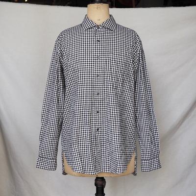 ジャンゴ アトゥール ワイドスプレッド ギンガムチェック シャツ ブラック×ホワイト Lサイズ
