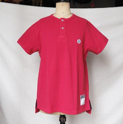 バーンストーマーズ フットボール オフィシャル スタイル 2ボタン クルーネック シャツ FIG RED Lサイズ