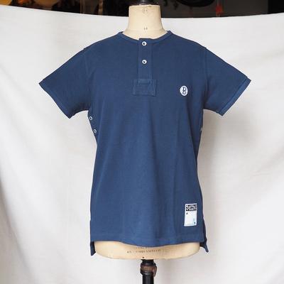 バーンストーマーズ フットボール オフィシャル スタイル 2ボタン クルーネック シャツ CONFEDERATE BLUE