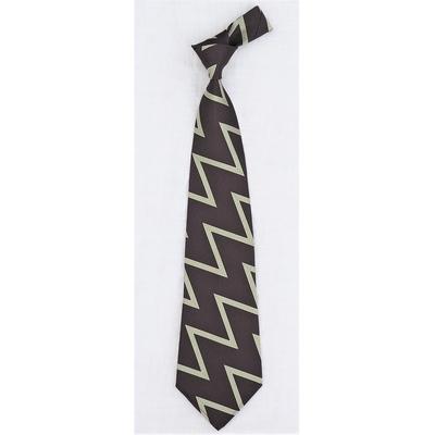 アジャスタブルコスチューム ジグザグ パターン オリジナル ジャカード ネクタイ ブラウン×ミント