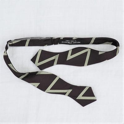 アジャスタブルコスチューム ジグザグ パターン オリジナル ジャカード ボウタイ ブラウン×ミント