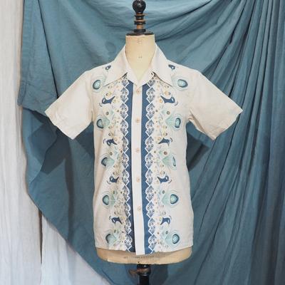 アジャスタブルコスチューム オリジナルプリント オープンカラー 半袖シャツ ベージュ