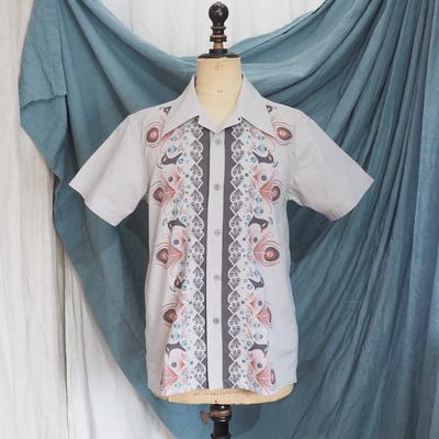 アジャスタブルコスチューム オリジナルプリント オープンカラー 半袖シャツ グレー