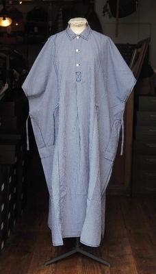 ホームスパン ビッグ シャツ ワンピース オフホワイト×ブルー
