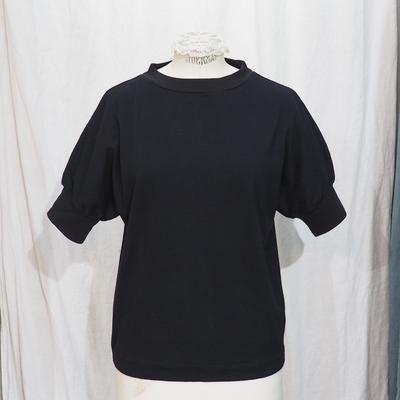 ホームスパン ハイネック 半袖 プルオーバー ブラック