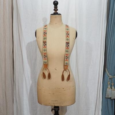 アジャスタブルコスチューム インディアン エンブロイダリー テープ ブレーシズ ブラウン