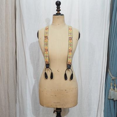 アジャスタブルコスチューム インディアン エンブロイダリー テープ ブレーシズ ブラック