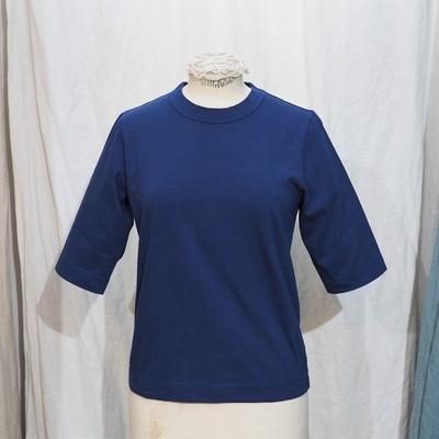 ホームスパン 6分袖 半袖Tシャツ ダークブルー