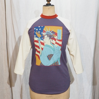 フリーホイーラーズ 自由婦女人相 7分袖 ラグランスリーブTシャツ ウェステッドネイビー×ストロークリーム×チリ