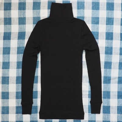 ホームスパン 40/1 丸胴テレコ タートルネック 長袖 プルオーバー ブラック