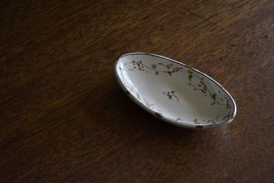 藤田佳三/赤絵舟形豆鉢