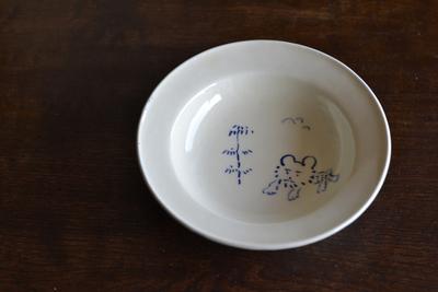 石田誠/紅毛手4.5寸ハットボウル(クリーム・絵入り)B