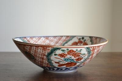 萠窯/赤絵八寸鉢
