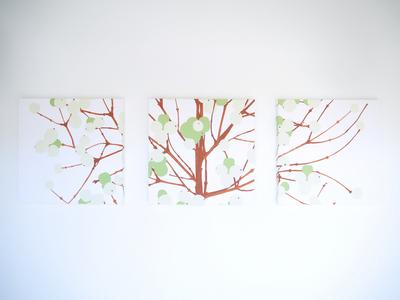 【受注作成】マリメッコ ルミマルヤ/グリーン 30cm×30cmパネル3連