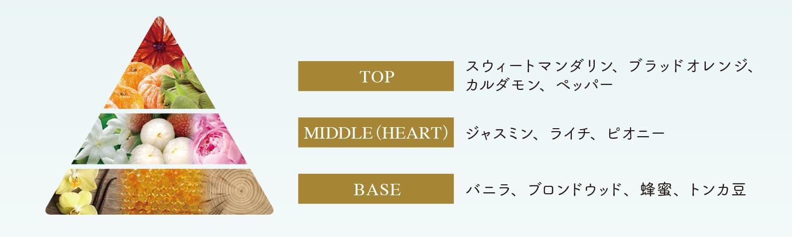 TOP:スウィートマンダリン、ブラッドオレンジ、TOP カルダモン、ペッパー MIDDLE(HEART):ジャスミン、ライチ、ピオニー BASE:バニラ、ブロンドウッド、蜂蜜、トンカ豆