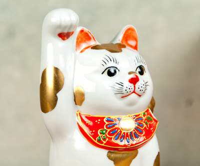 【送料割引・張り子のまめまねきプレゼント中!】九谷焼招き猫 金ブチ 4号