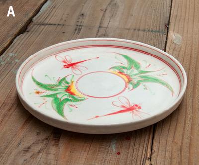 ベトナム食器 トンボ柄 丸平皿