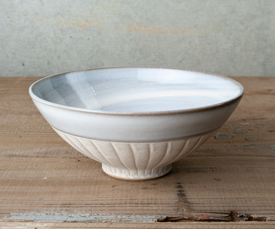【圭秀窯】小石原焼 刷毛目焼〆飯碗 藁白