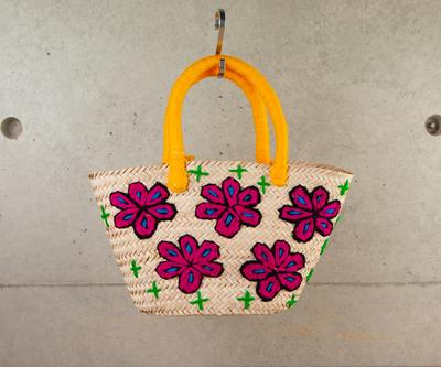 チェニジア刺繍バスケット 花