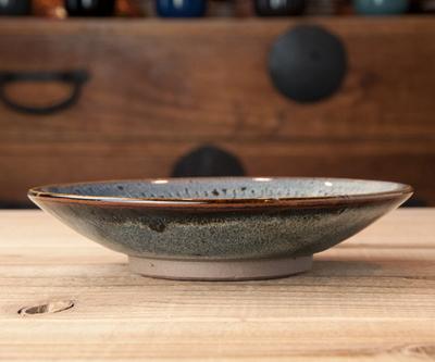 小石原焼 5寸皿 飛びカンナ海鼠釉