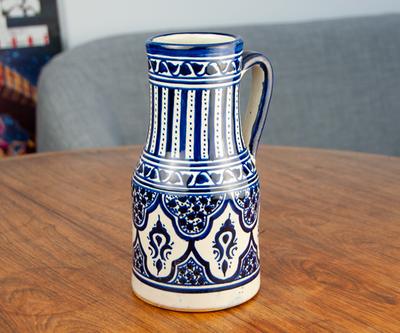 フェズ陶器の飾りポット L コバルト