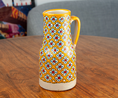 フェズ陶器の飾りポット L イエロー