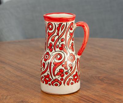 フェズ陶器の飾りポット M レッド
