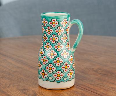 フェズ陶器の飾りポット M アクア