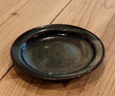 小石原焼 リム付パン皿 飛びカンナ海鼠釉
