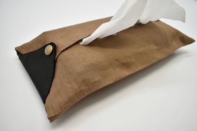 ティッシュカバー Linen-brown