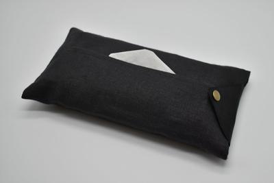 ティッシュカバー Linen-black