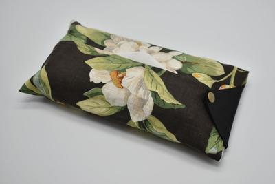 ティッシュカバー flower-black