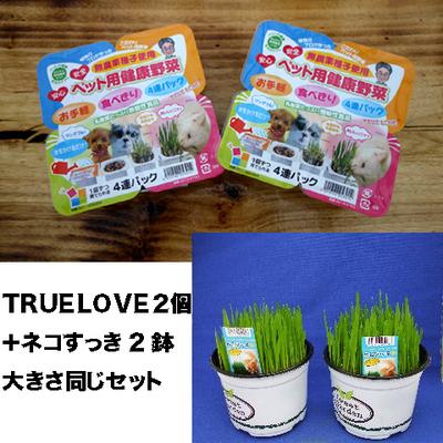 ペット用健康野菜ネコすっきTRUE LOVE2パック&ネコすっき2個大きさ同じセット