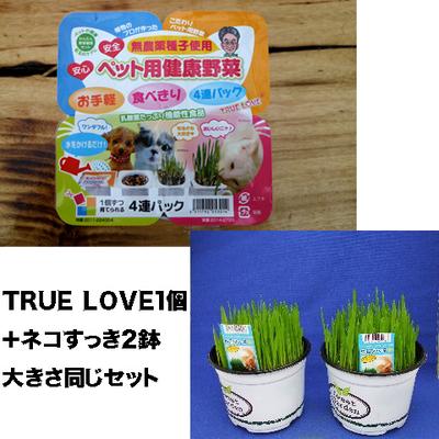 ペット用健康野菜ネコすっきTRUE LOVE1パック&ネコすっき2個大きさ同じセット
