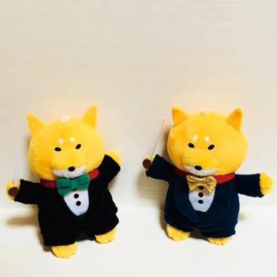柴犬ラク ぬいぐるみキーホルダー [指揮者ラク(ゴールド×ネイビー)]