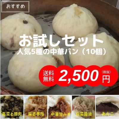 人気5種の中華パンお試しセット(10個・送料無料)