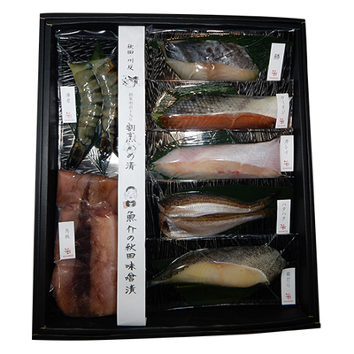 秋田味噌漬7種詰合せ【イカ・銀鱈・カレイ・サーモン・鰆・×各1、海老×2尾・ハタハタ2匹】
